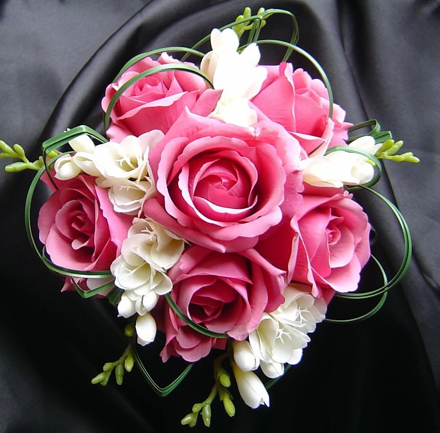 pink flower wedding bouquets photo - 1