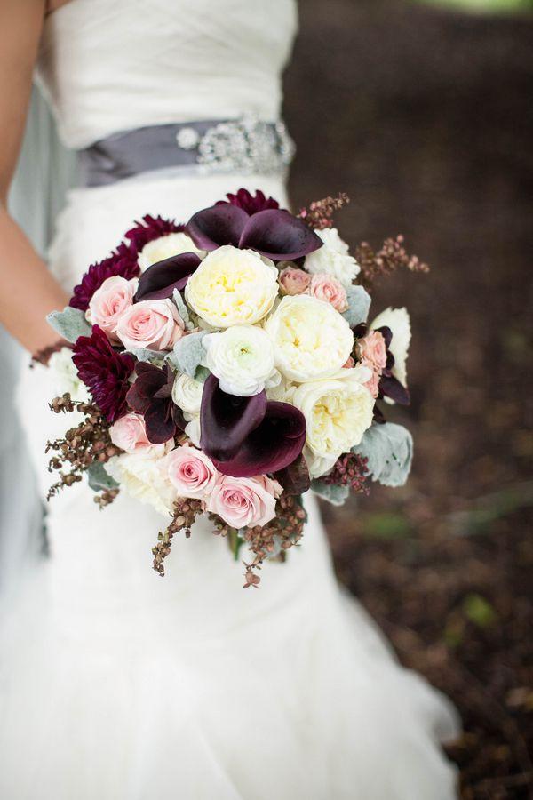 plum colored wedding bouquets photo - 1