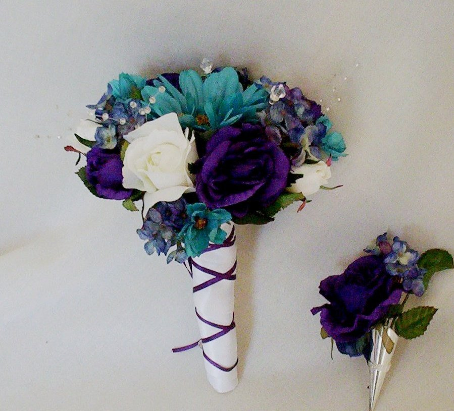 purple and teal wedding bouquets photo - 1