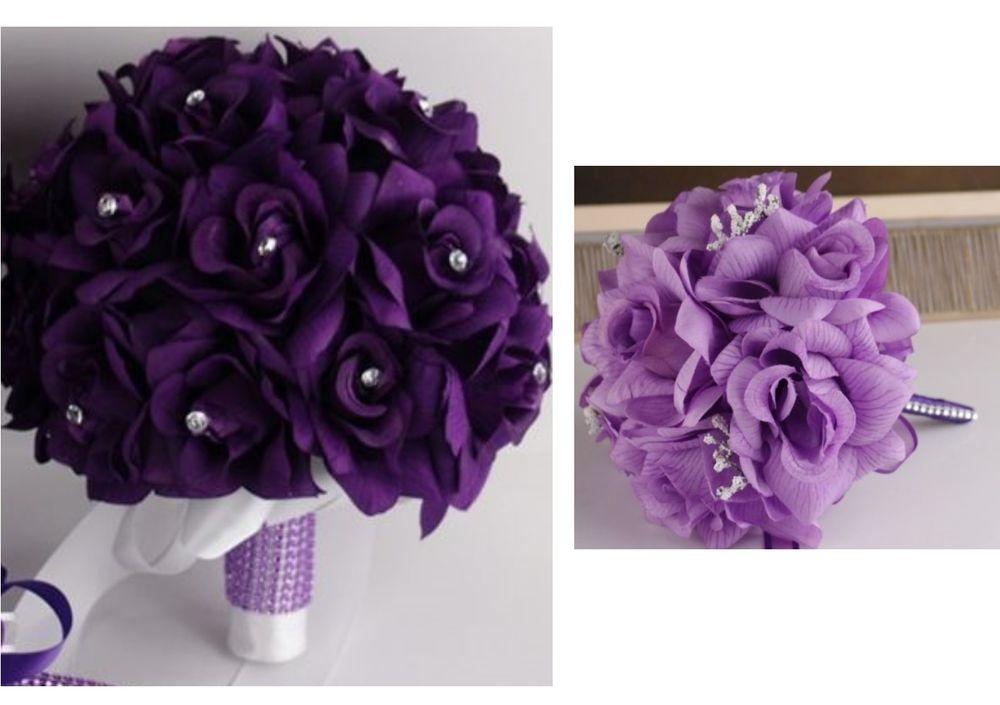 purple and white silk wedding bouquets photo - 1