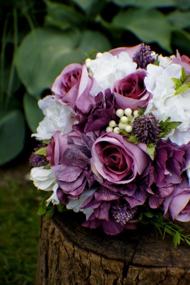 purple flower wedding bouquet photo - 1
