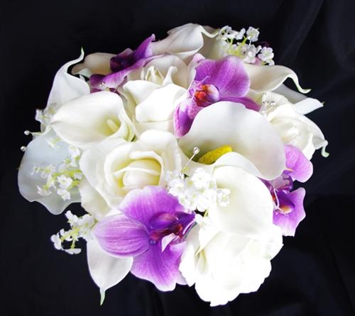 purple orchid wedding bouquets photo - 1