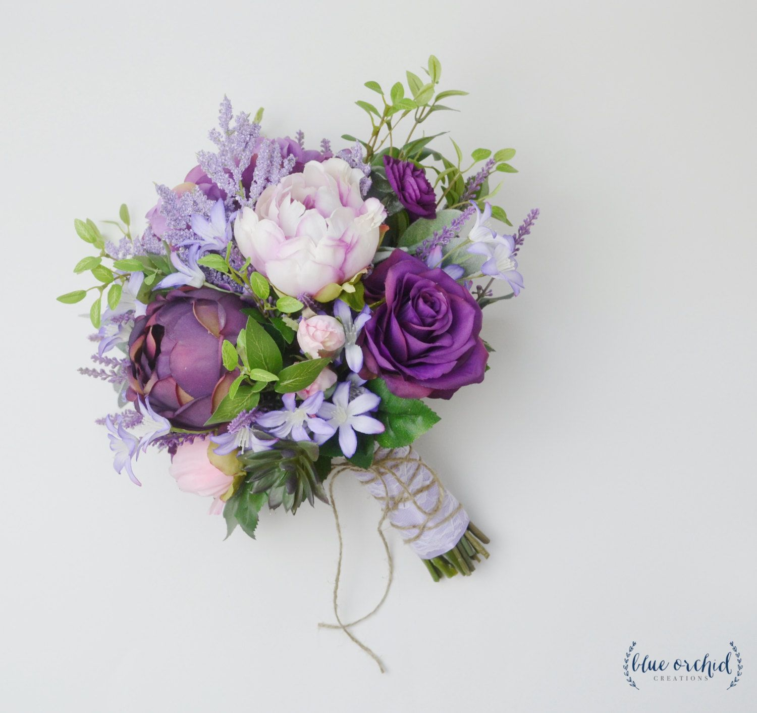 purple peonies wedding bouquets photo - 1