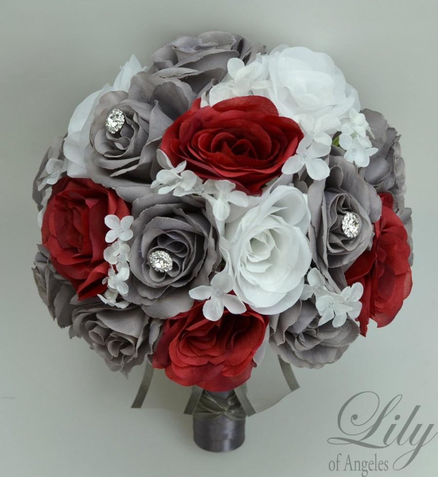 red and white silk wedding bouquets photo - 1