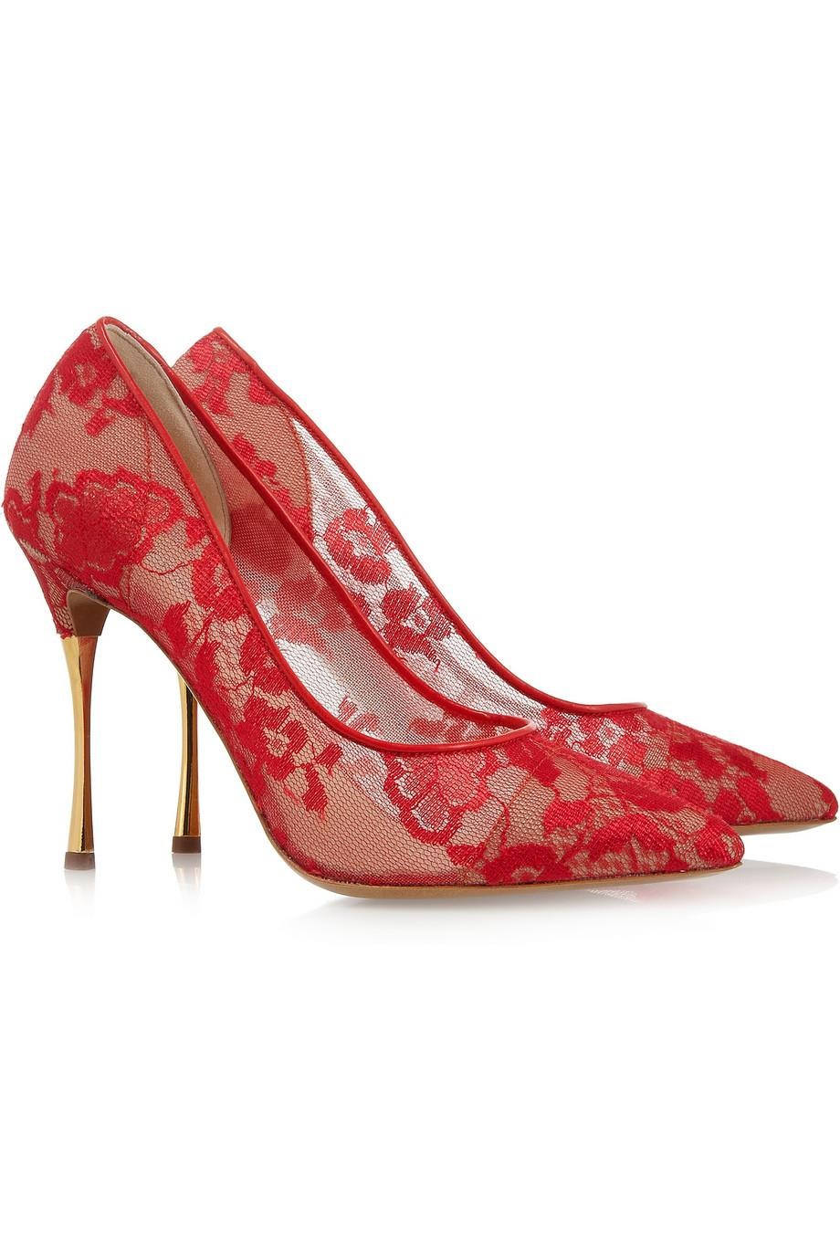 red lace wedding shoes photo - 1