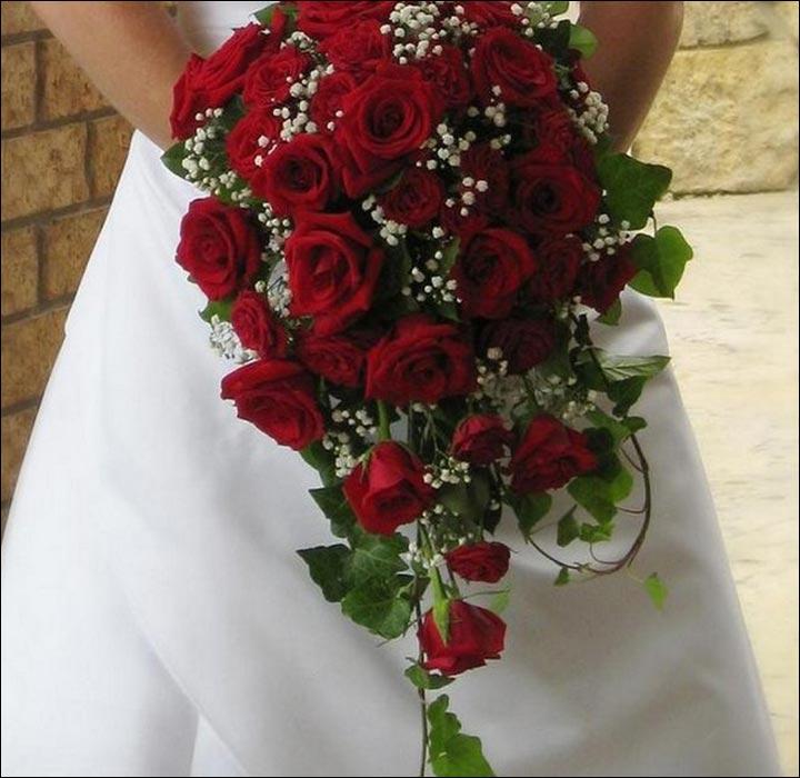red rose wedding bouquet photo - 1