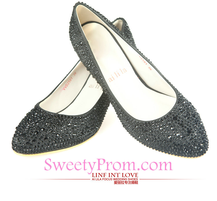 rhinestone wedding shoes low heel photo - 1