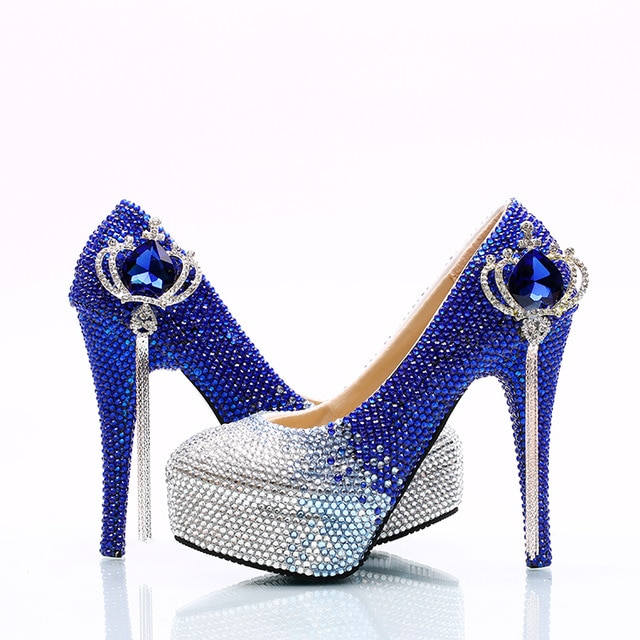 sapphire blue shoes for wedding photo - 1