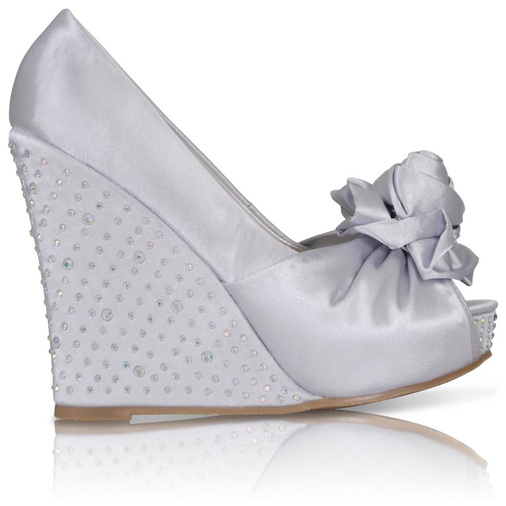 satin wedge wedding shoes photo - 1