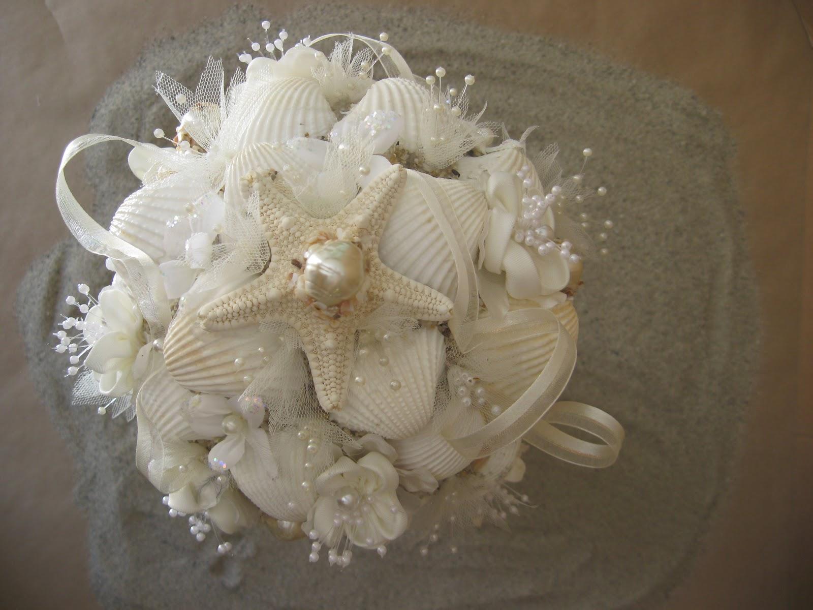 seashell bouquets wedding photo - 1