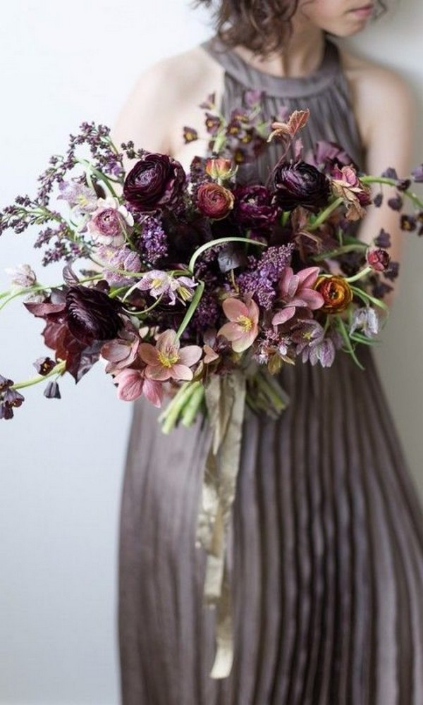 shades of purple wedding bouquets photo - 1
