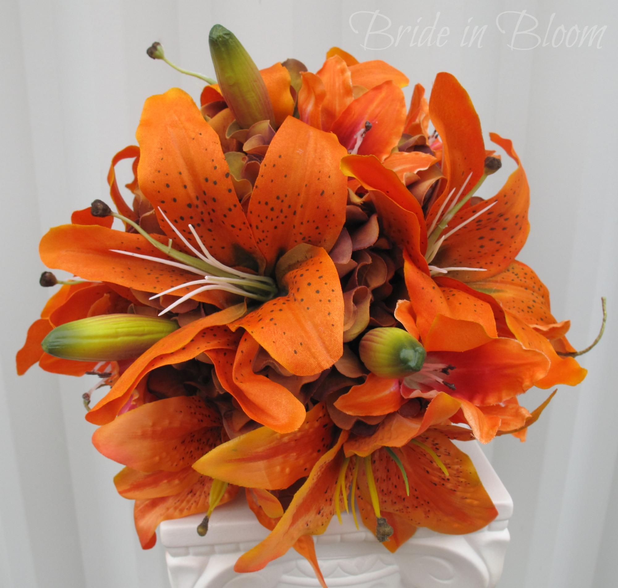 silk tiger lily wedding bouquets photo - 1