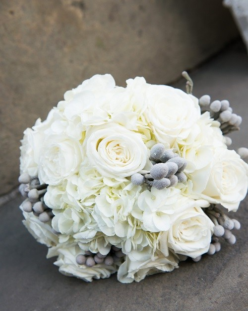 silver and white wedding bouquets photo - 1