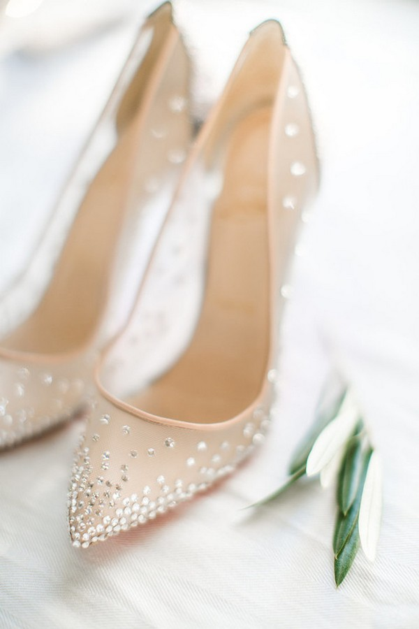 silver bling wedding shoes photo - 1