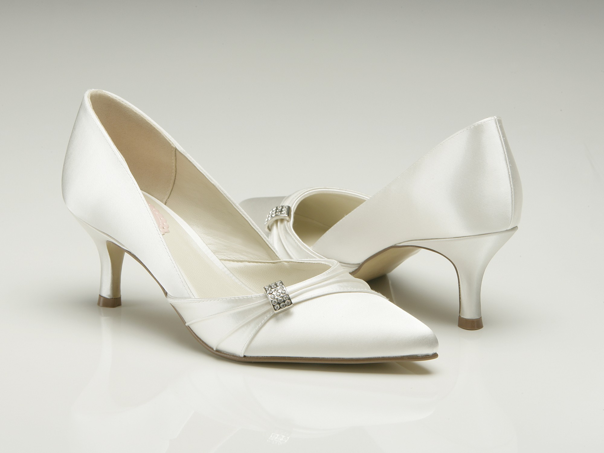 silver low heel shoes for wedding photo - 1