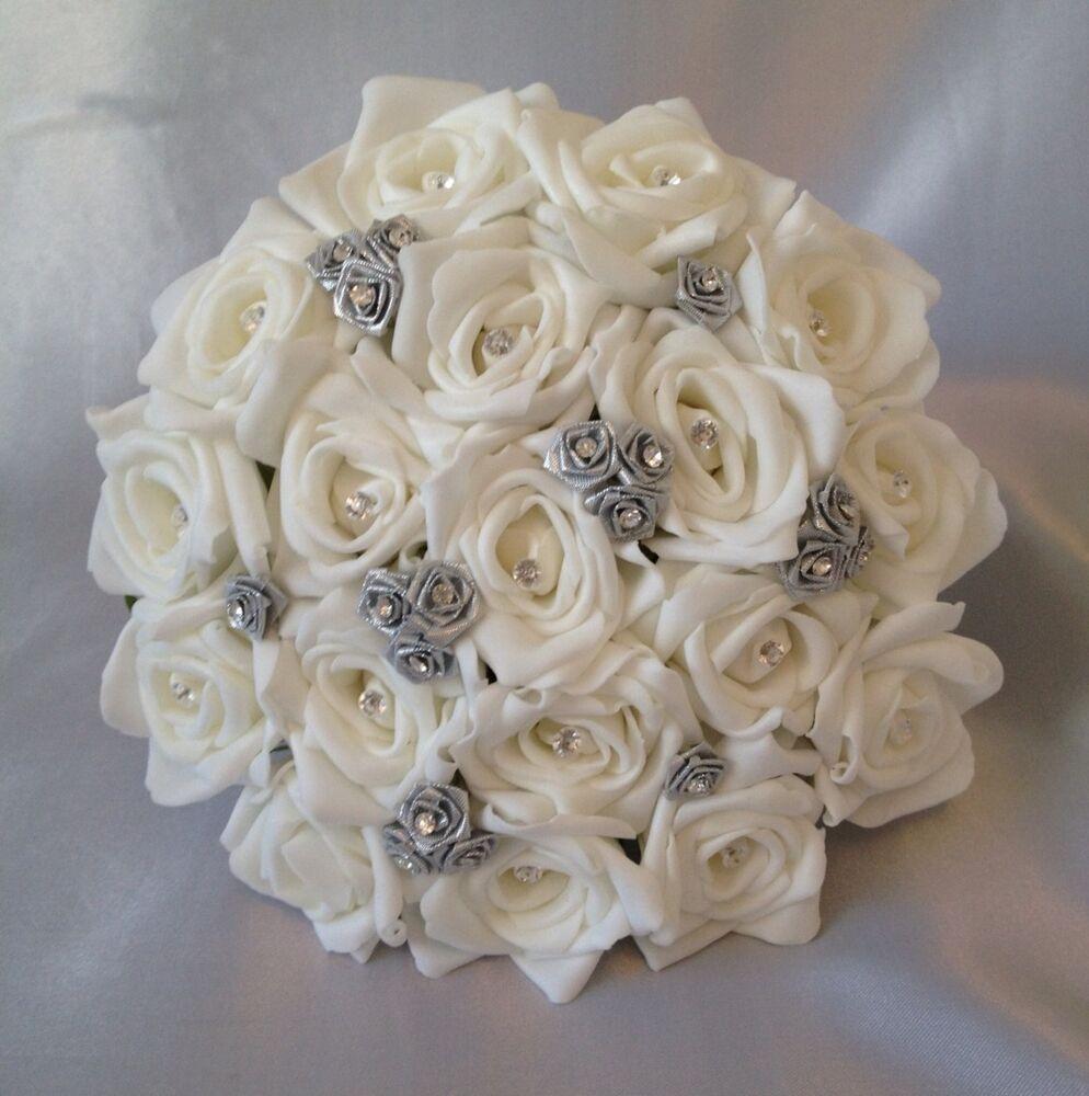 silver wedding bouquets photo - 1