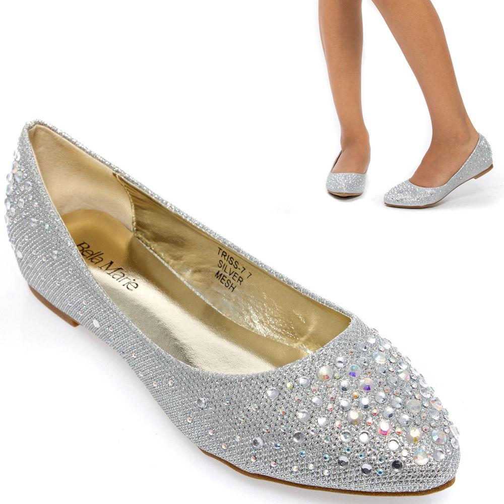 silver wedding flats shoes photo - 1