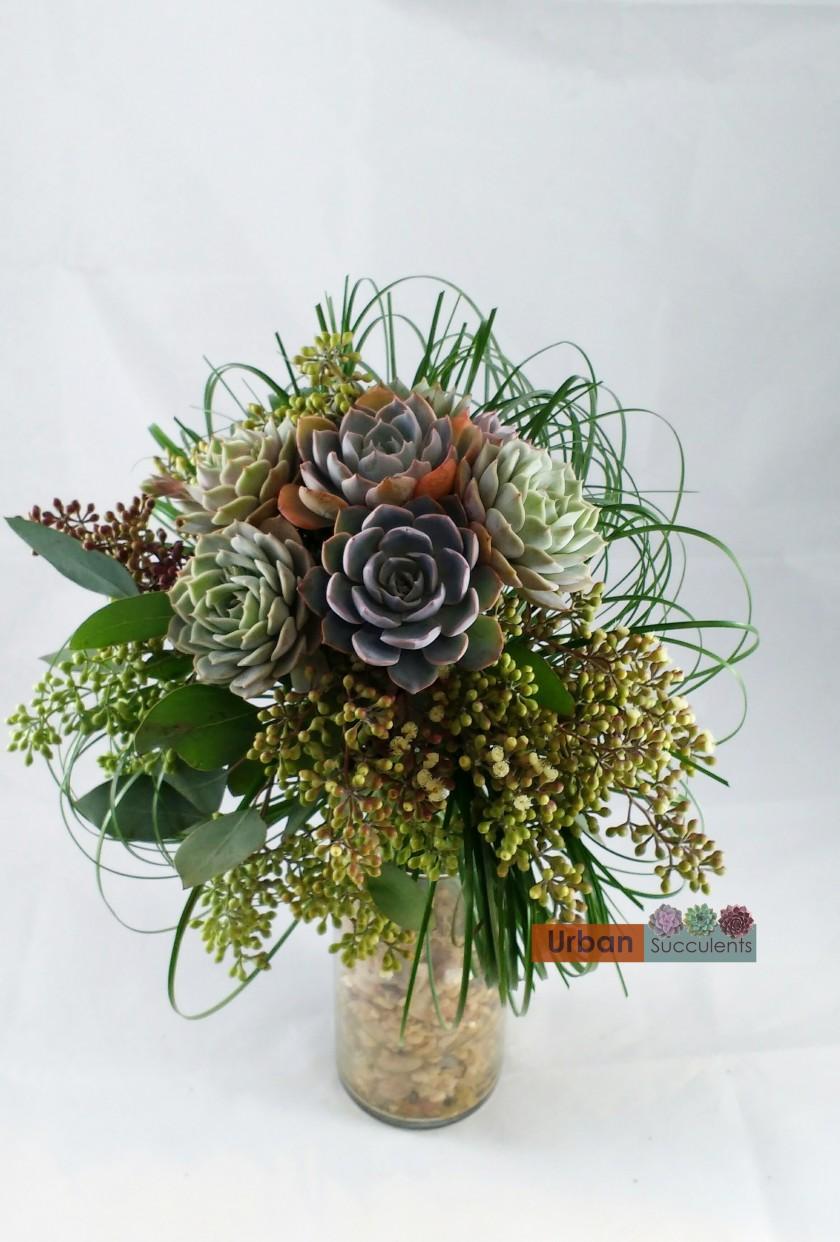 succulent wedding bouquet photo - 1