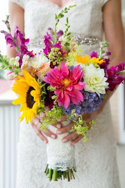 summer wildflower wedding bouquets photo - 1