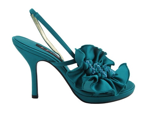 teal shoes for wedding photo - 1