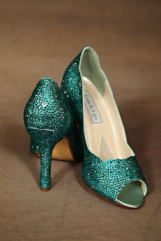 teal wedding shoes photo - 1