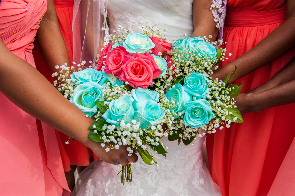 turquoise and coral wedding bouquets photo - 1