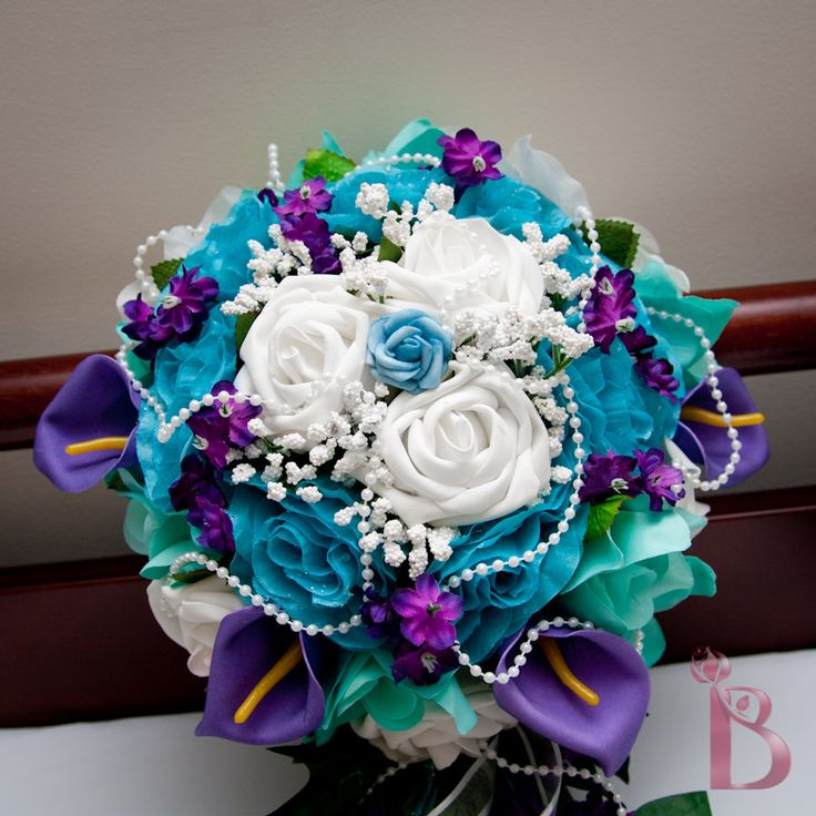 turquoise and purple wedding bouquets photo - 1