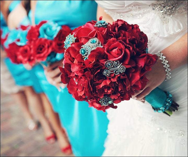 turquoise wedding bouquets photo - 1