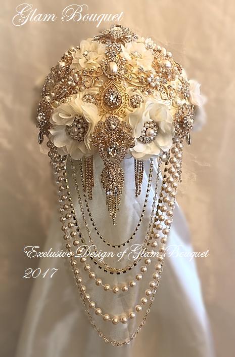 vintage jewelry wedding bouquets photo - 1