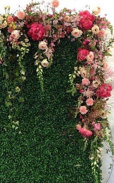 wall of flowers wedding photo - 1