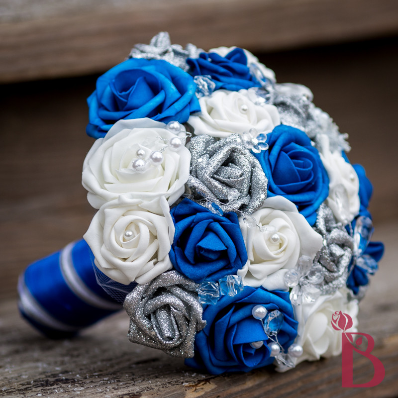 wedding bouquets blue and silver photo - 1