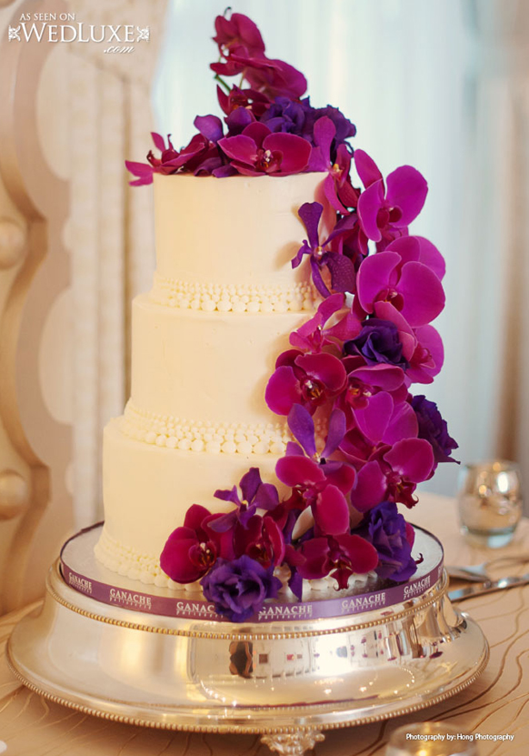 wedding cakes with purple flowers photo - 1