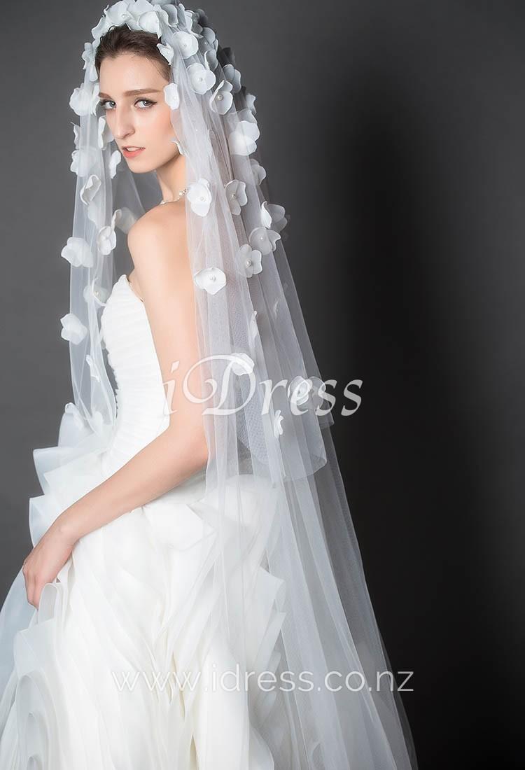 wedding dress with blue flowers photo - 1