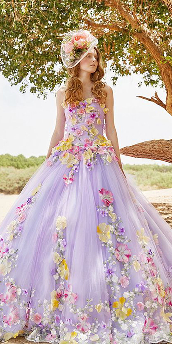 wedding dresses with colored flowers photo - 1