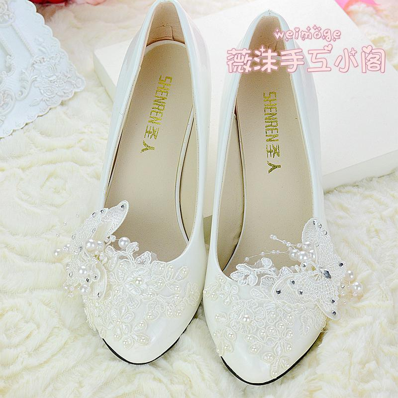 wedding shoes for bride low heel photo - 1