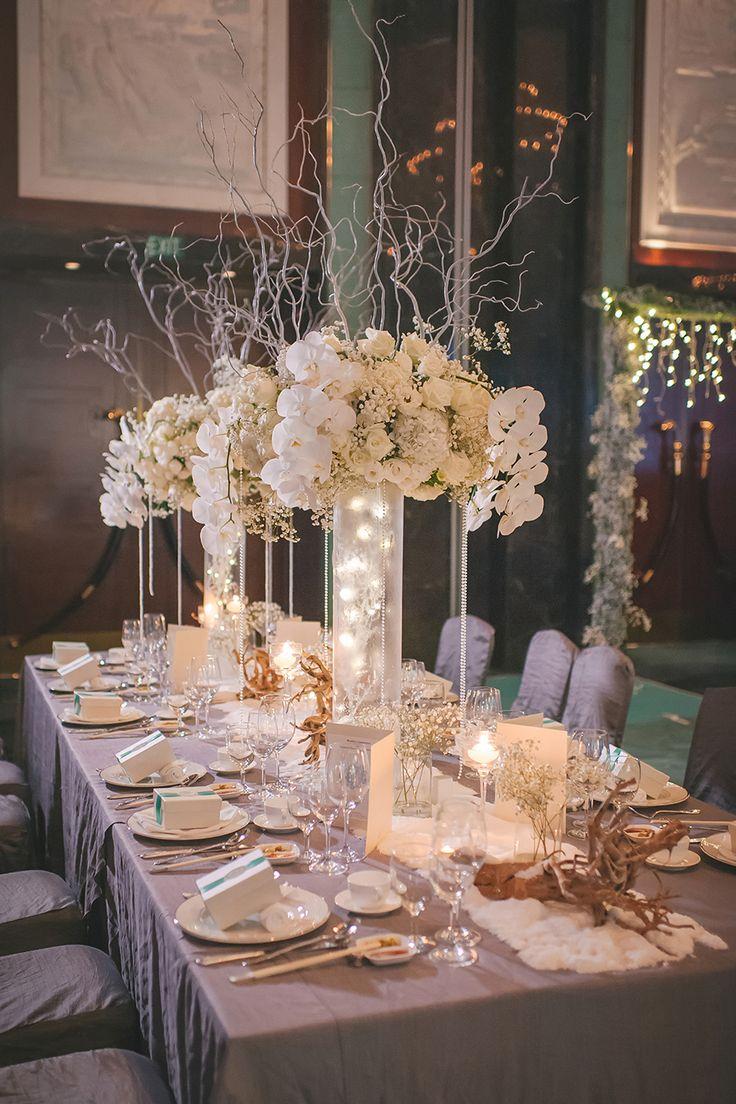 wedding table flower arrangements photo - 1