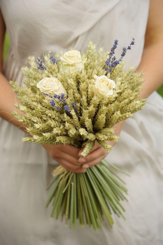 wheat wedding bouquets photo - 1