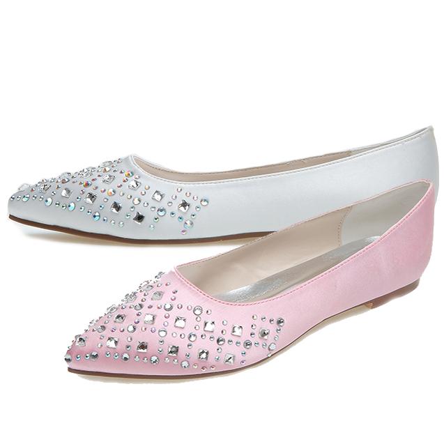 white flat shoes for wedding photo - 1