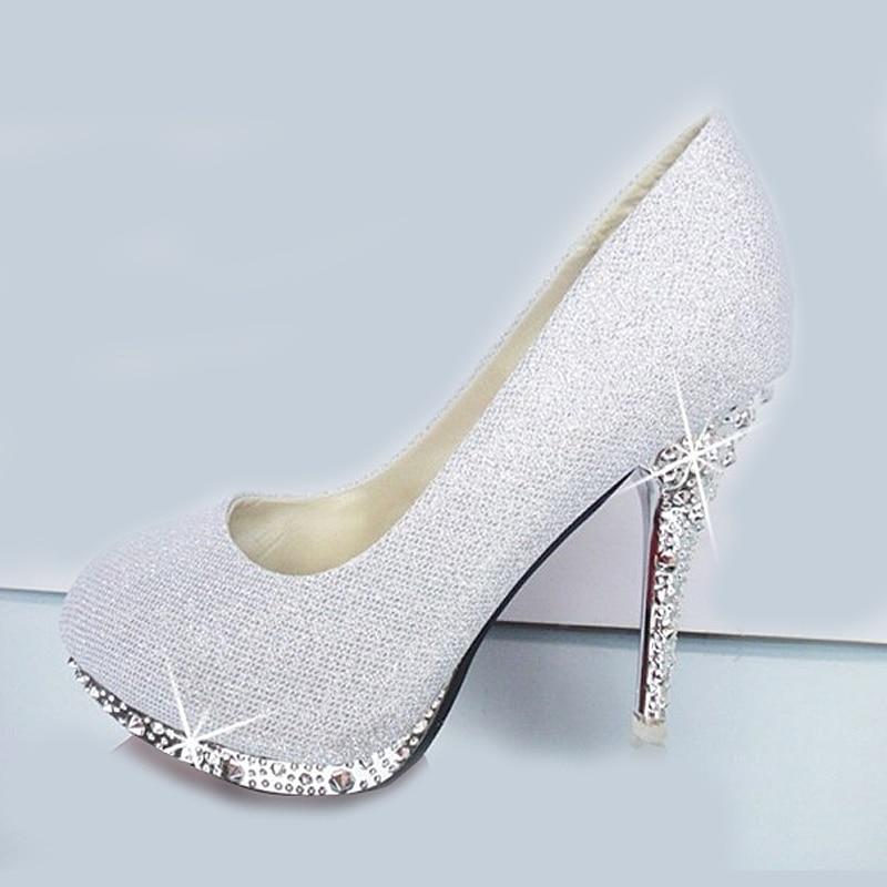 white glitter wedding shoes photo - 1