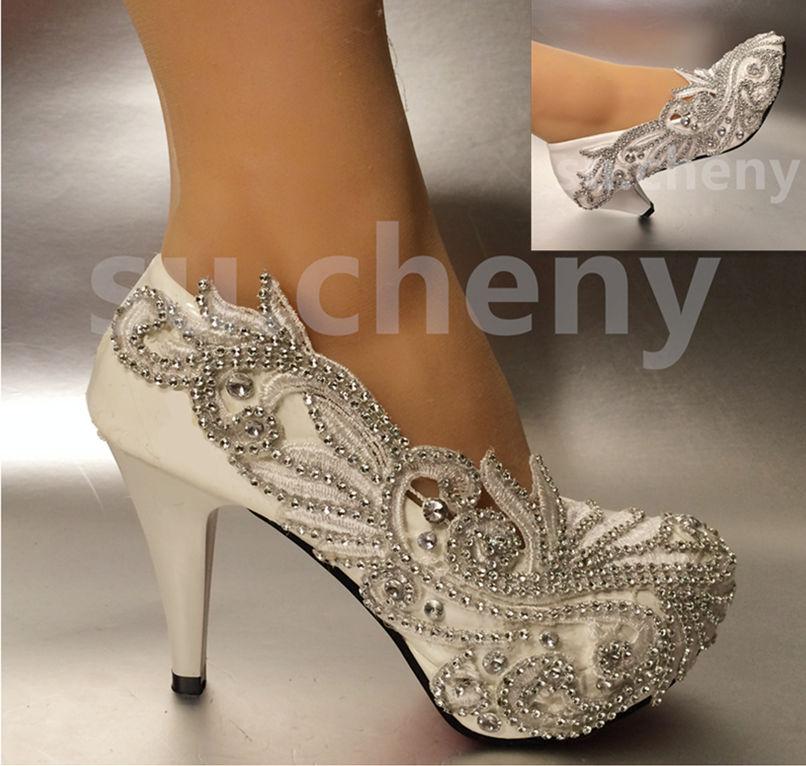 white peep toe wedding shoes photo - 1