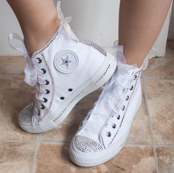 white wedding tennis shoes photo - 1
